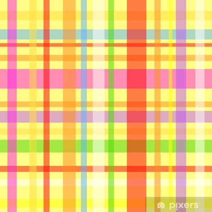 Vinilo Pixerstick Patrón de color amarillo a cuadros sin fisuras - Fondos