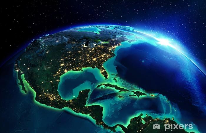 Papier peint vinyle Superficie du terrain en Amérique du Nord la nuit - Terre