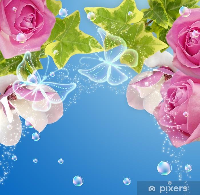 Papier peint vinyle Roses, magnolia et de papillons - Styles
