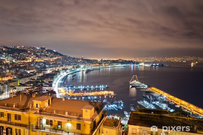 night view of Naples from Posillipo hill Pixerstick Sticker - Themes