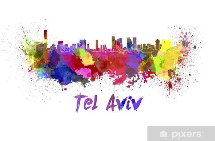 Papier peint vinyle Tel Aviv horizon à l'aquarelle - Moyen Orient