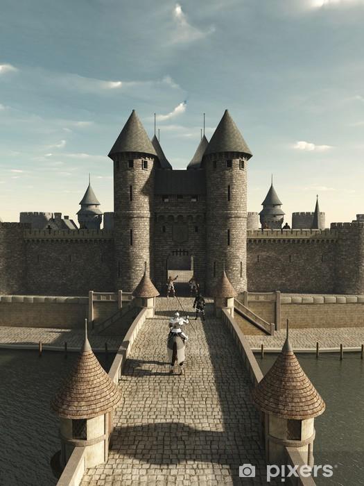 Fototapeta winylowa Rycerz średniowieczny jazda do bramy zamkowej - Rycerze