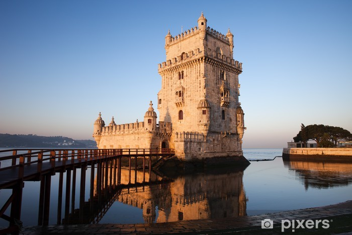 Morning at Belem Tower in Lisbon Pixerstick Sticker - Themes