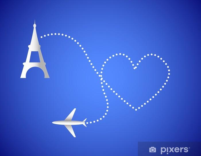 Naklejka Pixerstick Samolot i paris - Miasta europejskie