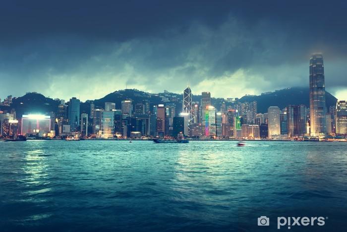 Naklejka Pixerstick Skyline Hongkongu - Miasta azjatyckie