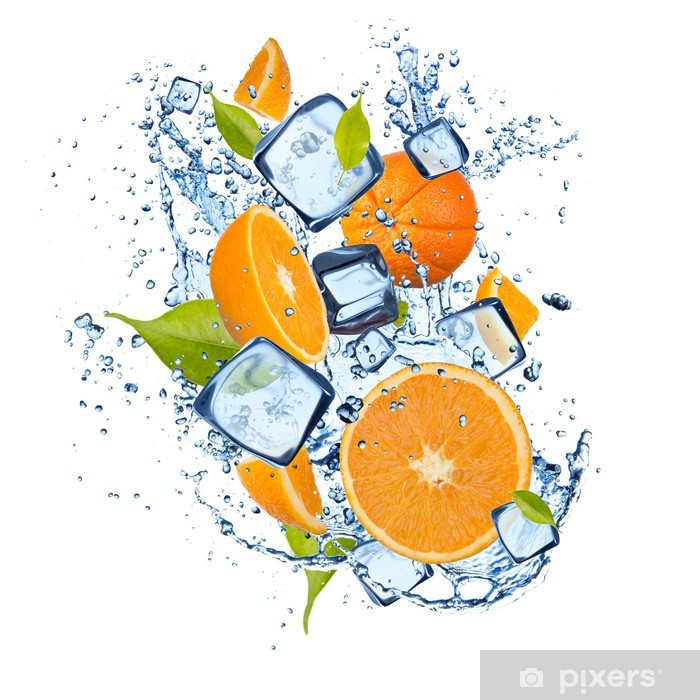 Ice oranges on white background Poster - Meals