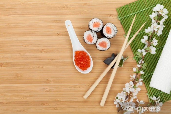 Sushi set, caviar and fresh sakura branch Pixerstick Sticker - Sushi