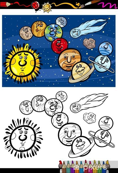 Gunes Sistemi Karikatur Boyama Kitabi Duvar Resmi Pixers