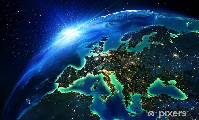 Papier peint vinyle La superficie des terres en Europe la nuit - Terre