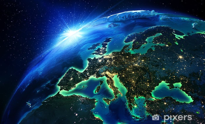 land area in Europe the night Vinyl Wall Mural - Earth