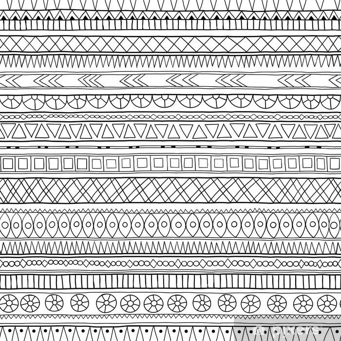 Naklejka Pixerstick Oryginalny wzór tribal doddle etnicznych. - Style