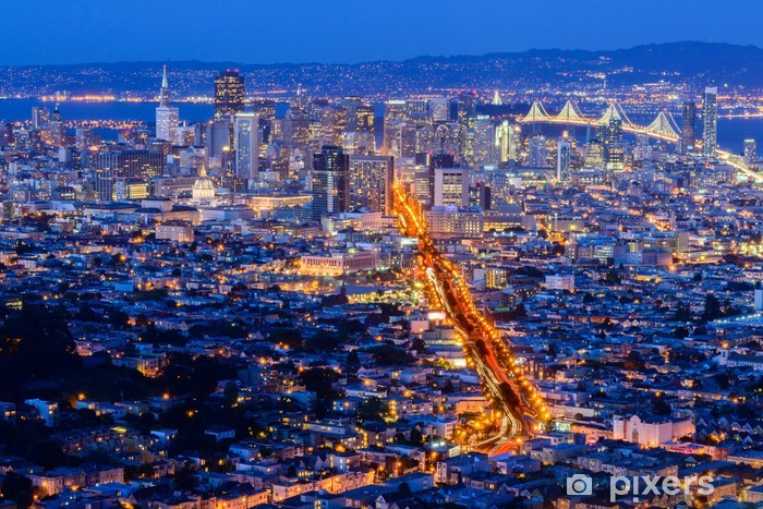 Fototapeta winylowa San Francisco miasto z podwójnym szczytem - Ameryka