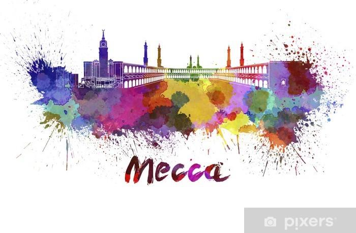 Pixerstick Sticker Mekka skyline in aquarel - Midden Oosten
