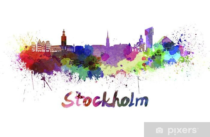 Fototapeta winylowa Sztokholm skyline w akwareli - iStaging