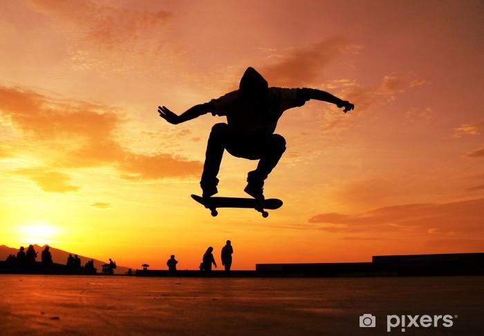 Skateboard Silhouette Pixerstick Sticker - Skateboarding