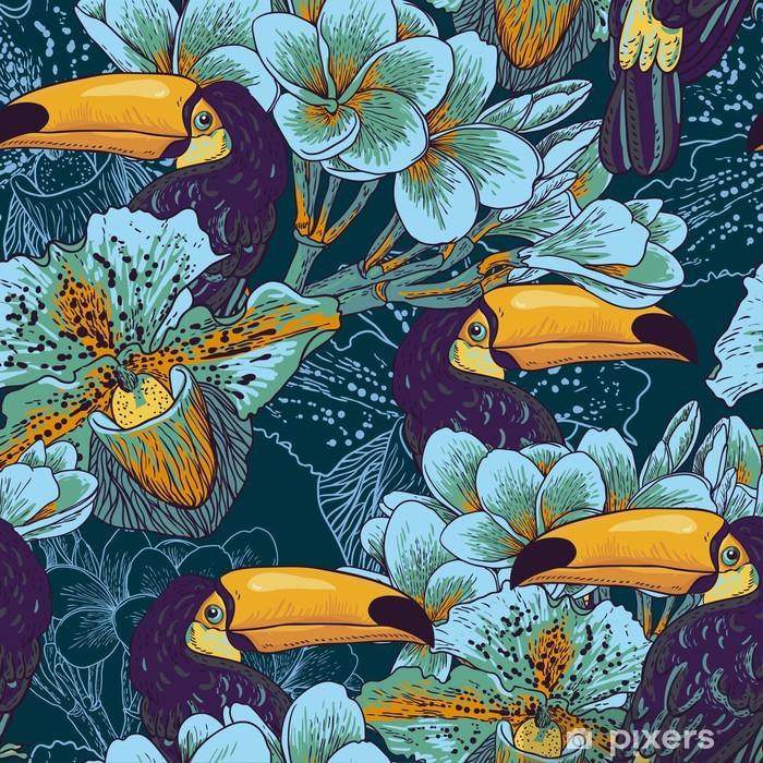 Kapı Çıkartması Çiçekler ve Toucan ile tropikal kesintisiz parrern - Salon