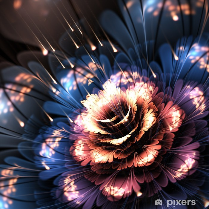 Poster Orange-blau Fractalblume - Blumen