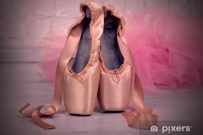Ballet pointe shoes on floor Pixerstick Sticker - Themes