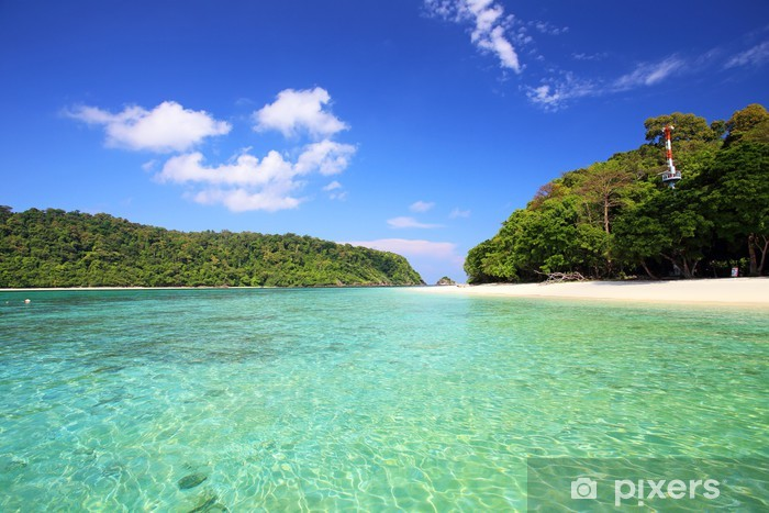 Sticker Pixerstick Plage tropicale, la mer d'Andaman Koh Rok Thaïlande - Vacances