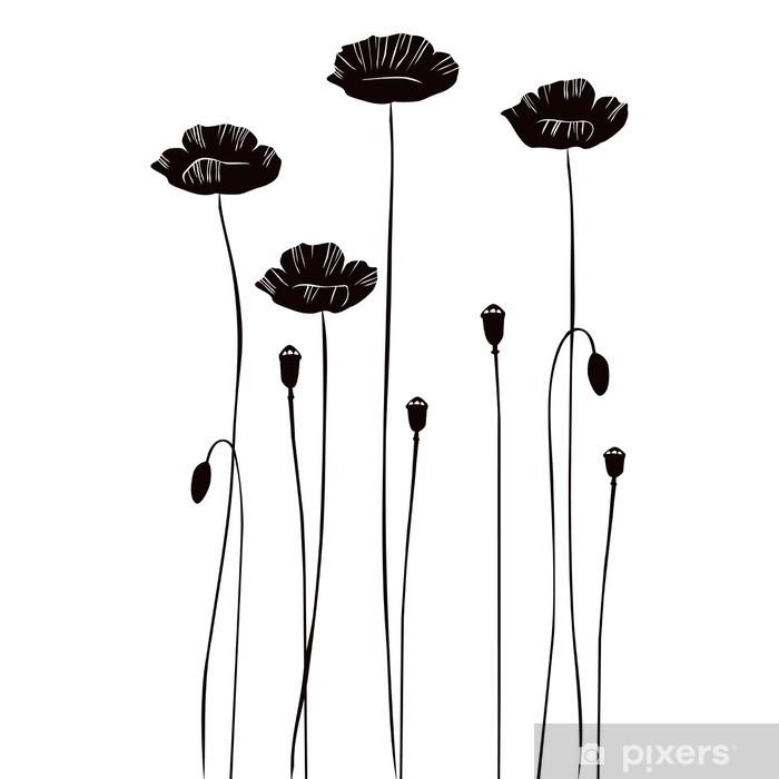 Vinyl-Fototapete Blumenhintergrund mit Mohnblumen - Haus und Garten