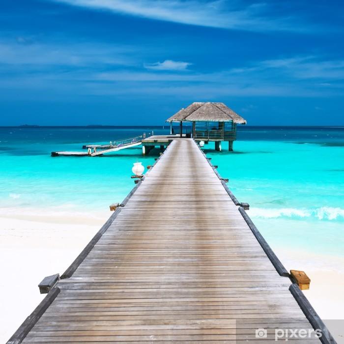 Beautiful beach with water bungalows Pixerstick Sticker - Destinations