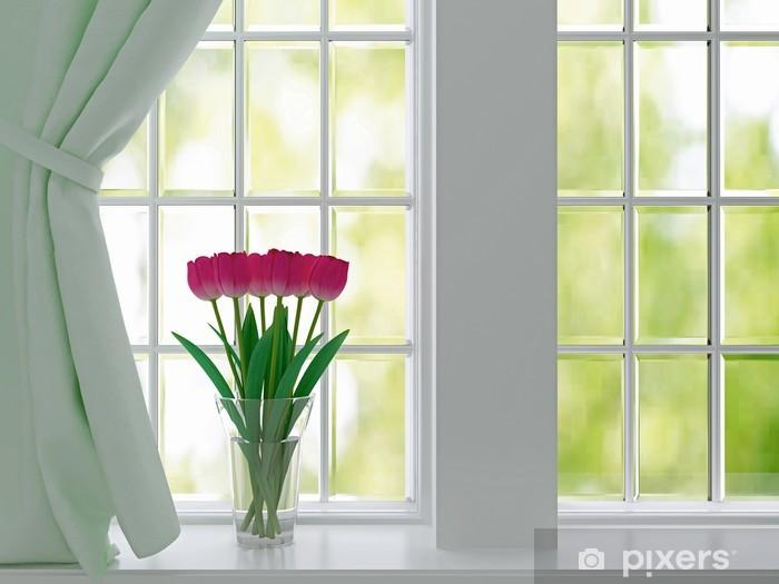 Fototapeta winylowa Tulipany na parapecie. - Sklepy