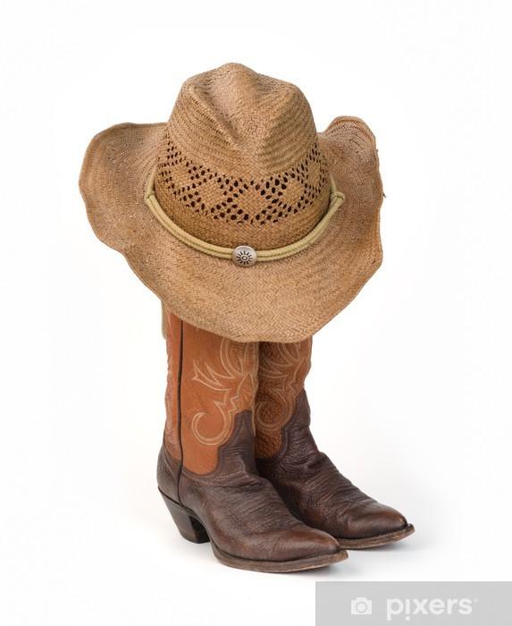 Afwasbaar Fotobehang Dames Cowboy Laarzen met Straw Hat. - Mode
