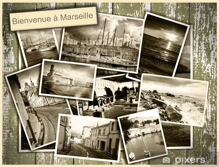 Pixerstick Sticker Collage uitzicht op Marseille, zwart-wit foto's op een houten b - Europa