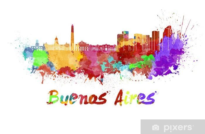 Vinyl-Fototapete Buenos Aires Skyline in Aquarell - Amerika