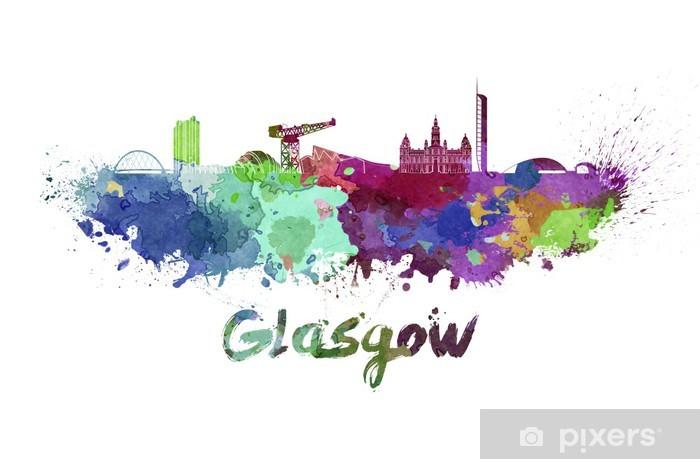 Glasgow skyline in watercolor Pixerstick Sticker - Europe