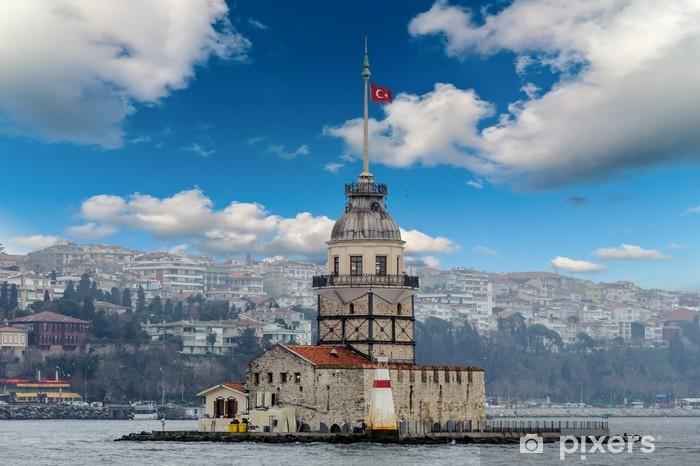 Cloudy city scape maidens tower Turkish kiz Kulesi shore view Vinyl Wall Mural - Europe