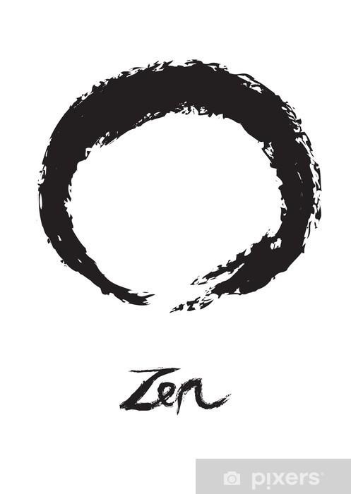 Papier peint vinyle Bouddhisme Zen Symbole de cercle Enso sur fond blanc - Religion