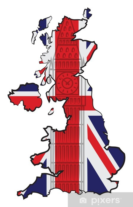 Kort Over England Med Flag Og Big Ben Pixerstick Klistermaerke