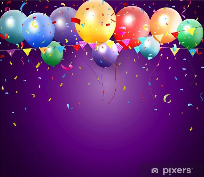 Sticker Pixerstick Affiche d'anniversaire avec des ballons et des confettis - Célébrations