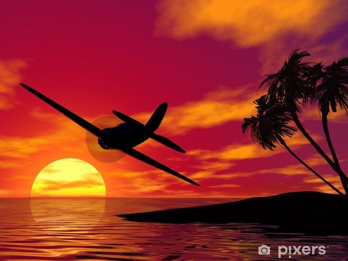Papier peint vinyle Avion au coucher du soleil. - Thèmes