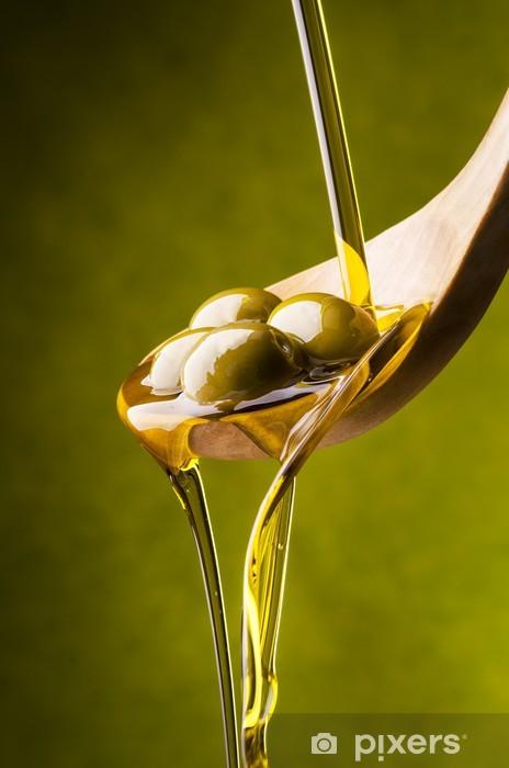 Fototapeta winylowa Oliwa z oliwek z zielonym tle - Oliwki
