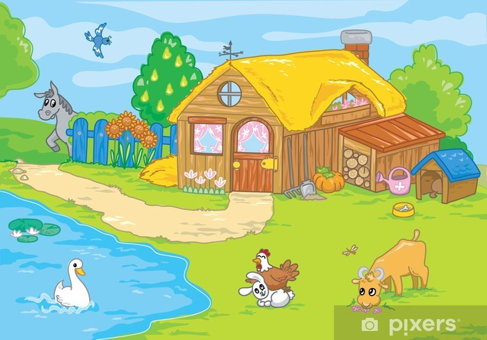 Cartoon Farm And Cute Animals For Kids Vinyl Wall Mural Birds