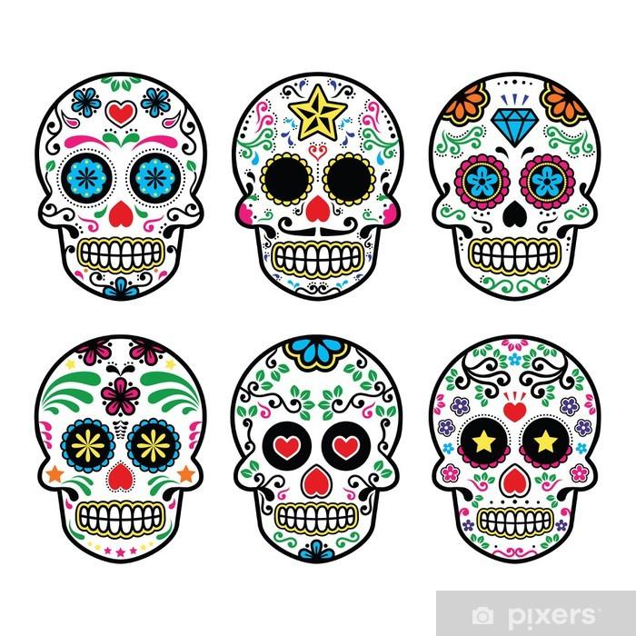 Fotomural Estándar Mexican sugar skull, Dia de los Muertos icons set on white - Viajes