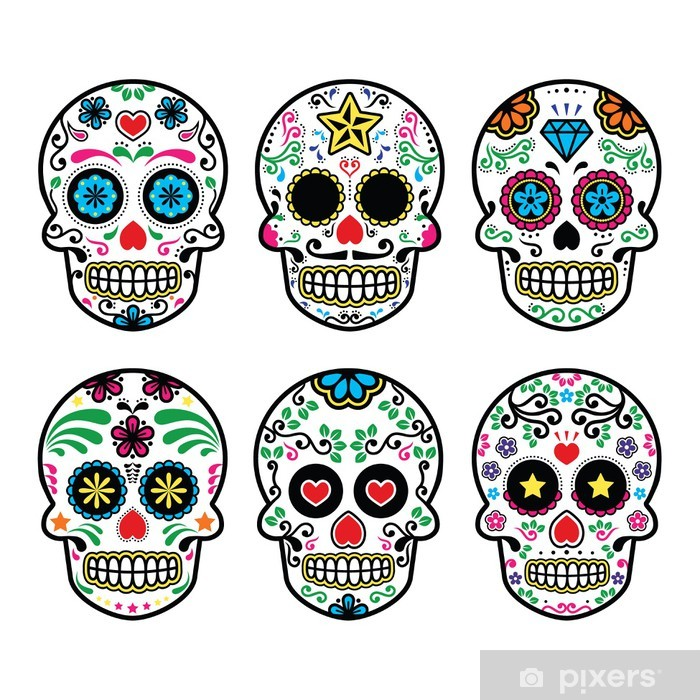 Mexican sugar skull, Dia de los Muertos icons set on white Poster - Travel