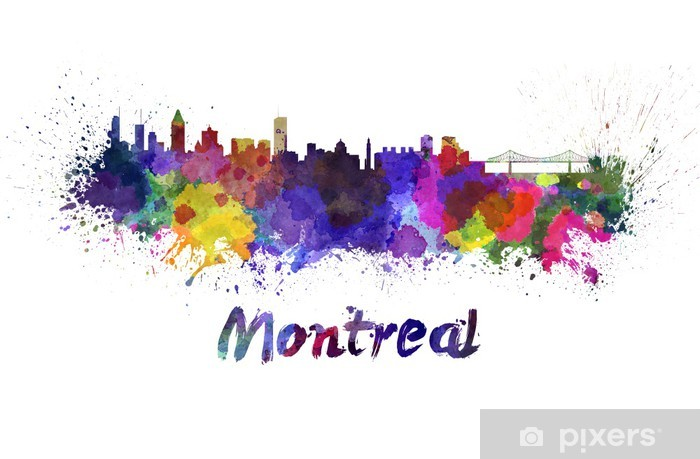 Montreal skyline in watercolor Vinyl Wall Mural - America