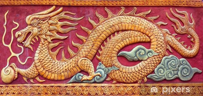 Pixerstick Sticker Chinese draak muurschildering - Azië