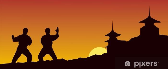Vinyl Fotobehang Illustratie, mensen zijn bezig met karate op een gele achtergrond - Thema's
