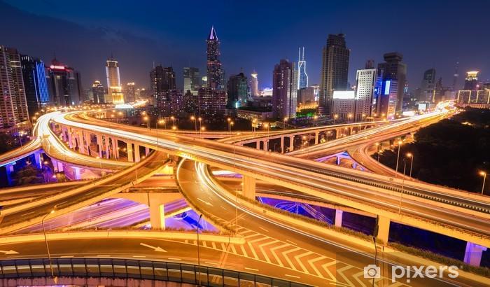 Sticker Pixerstick Vue panoramique de la ville échanges viaduc - Infrastructures
