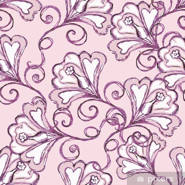 Poster Nahtlose rosa Hintergrund. Blumenverzierung. - Blumen
