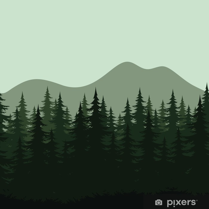 Seamless Mountain Landscape Forest Silhouettes Wall Mural