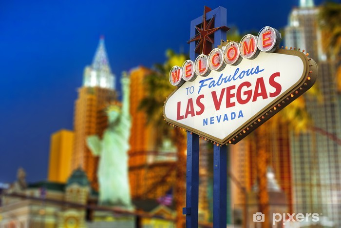 Vinilo Pixerstick Bienvenido a la muestra de Las Vegas de neón - Las Vegas