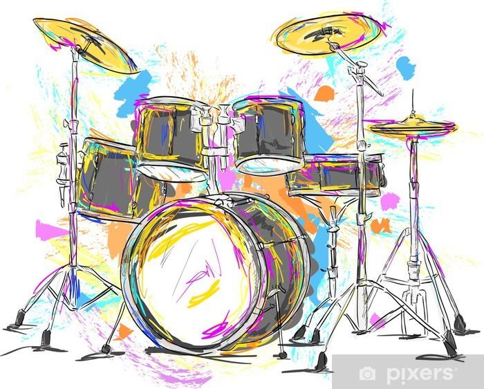 Vinyl Fotobehang Drum Schilderen Vector Art - Thema's