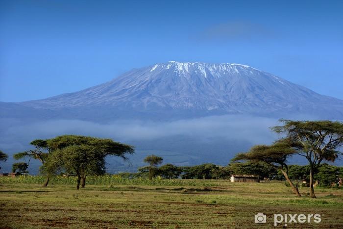 Snow on top of Mount Kilimanjaro in Amboseli Pixerstick Sticker - Themes