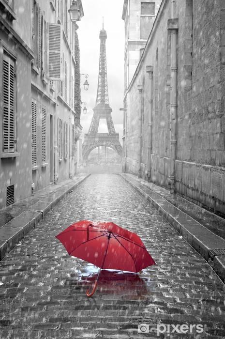 Vinyl-Fototapete Eiffelturm Blick von der Straße von Paris -