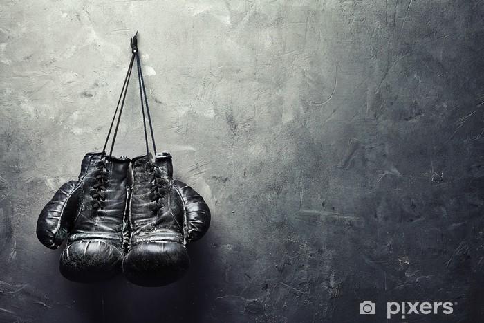 Vinil Duvar Resmi Eski boks eldivenleri doku duvara çivi asmak - Yaşam tarzı